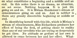 Scanned section of May Sinclair's review of Dorothy Richardson's Pilgrimage
