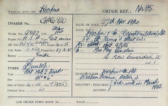 The order receipt, with the name of the first owner: 'Mrs' May Sinclair.